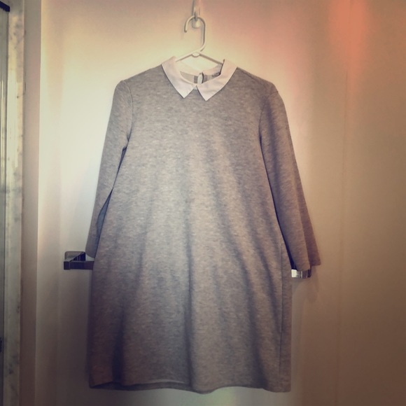 Grey Zara sweater dress, size Medium, white collar